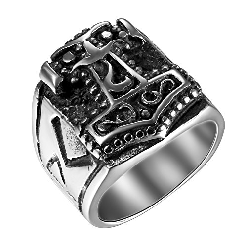 Flongo Men's Biker Stainless Steel Vintage Celtic Knot Myth Thor's Hammer Band Ring, Size 10
