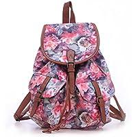 Foxnovo Drawstring Canvas Backpack Rucksack School Bag Casual Bag for Girls-Rose Print