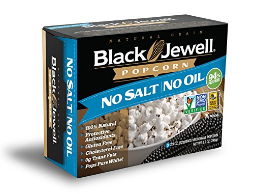 Black Jewell Premium Microwave Popcorn, No Salt No Oil, 3-Count, 8.7-Ounce Boxes (Pack of 6) (Black Jewel Popcorn)