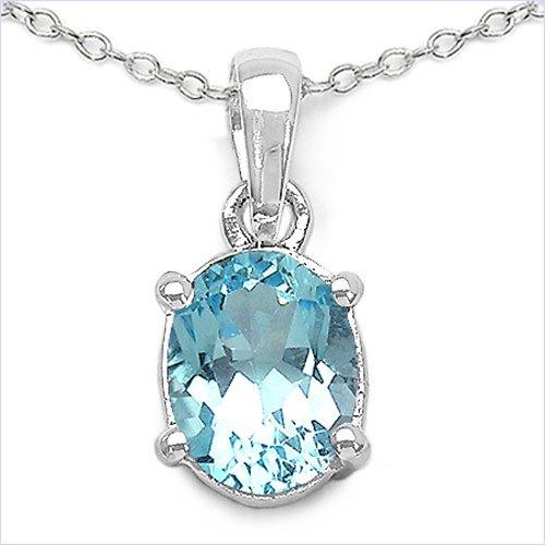 Bijoux Schmidt-Collier / pendentif ovale topaze bleue en argent-2, 50 carats