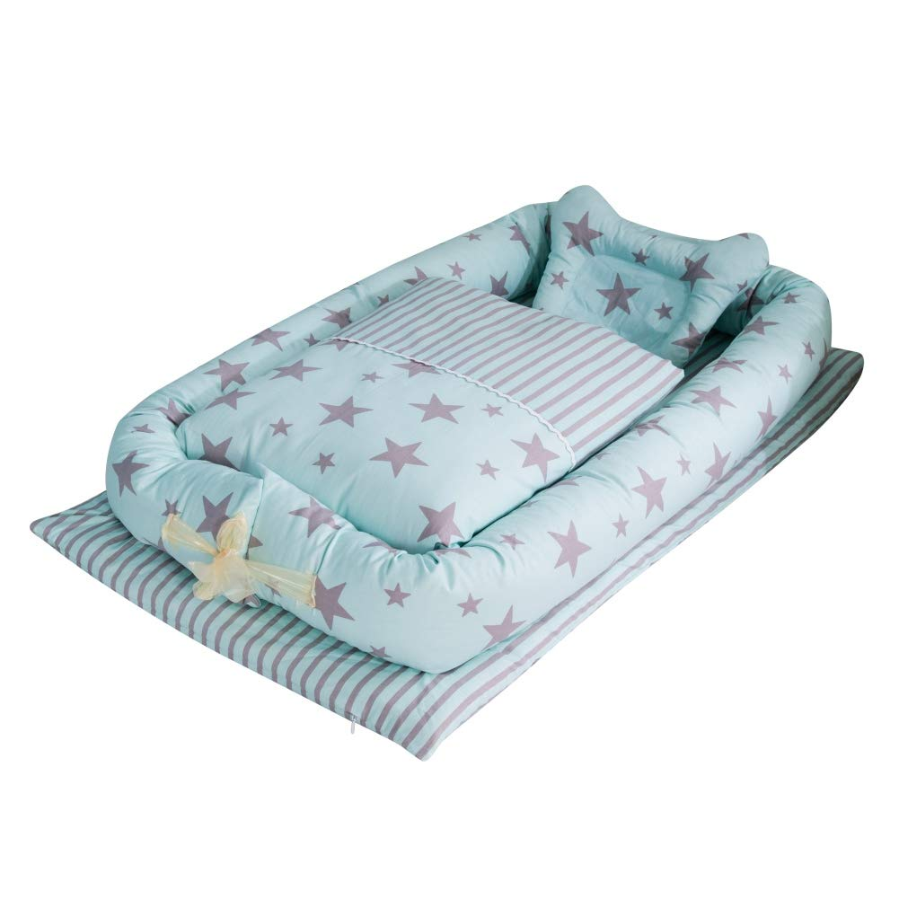 KOERIM Baby Lounger Newborn Baby Nest Bed Cotton Baby Bassinet for Bed w/Pillow Quilt for Bed Bedroom/Travel by KOERIM