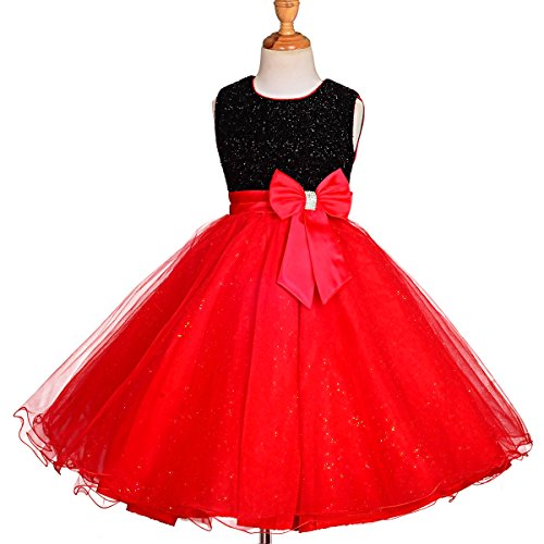Dressy Daisy Girls' Occasion Dresses Flower Girl Wedding Pageant Party Dress Size 3-4T Black Red