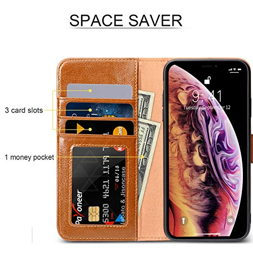 JISON21 iPhone Xs Max Wallet Case,Genuine Leather iPhone Xs Max Flip Case with Card Slot Auto Wake/Sleep Wallet Cover for iPhone Xs Max. (Brown)