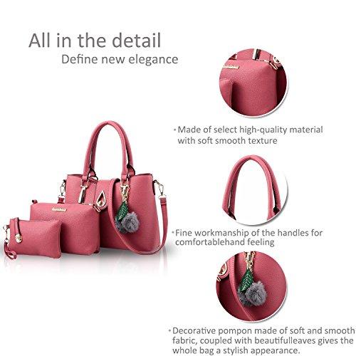Fourre Main Sac Pièces Cuir Sac tout Minetom Portefeuille a Sacs 3 Messager Élégant Sac Bandouliere Sac Femme de Portés Sacs pink Mode Main PU en qwAwXTfO