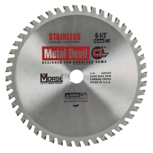 MK Morse CSM6504858CLSSC Metal Devil NXT Saw Blade, for Cordless Circular Saw,  6-1/2-Inch Diameter, 5/8-Inch Arbor, 48 Teeth, Stainless Steel Cutting