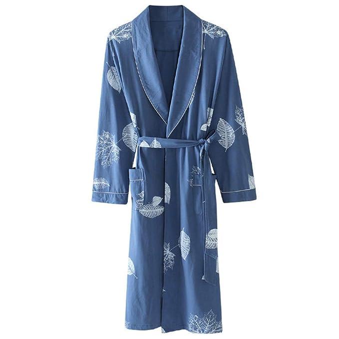 Vestidos Largos De Los Hombres Cómodo Suave Cuello De Solapa Pijamas De Manga Larga De Algodón
