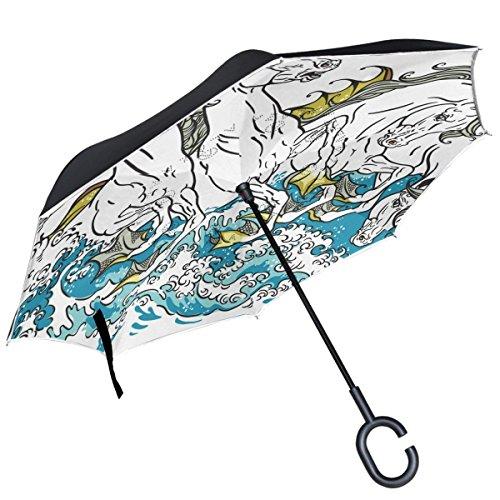 Sea Horses Inverted Umbrella Double Layer Windproof Reverse Umbrella