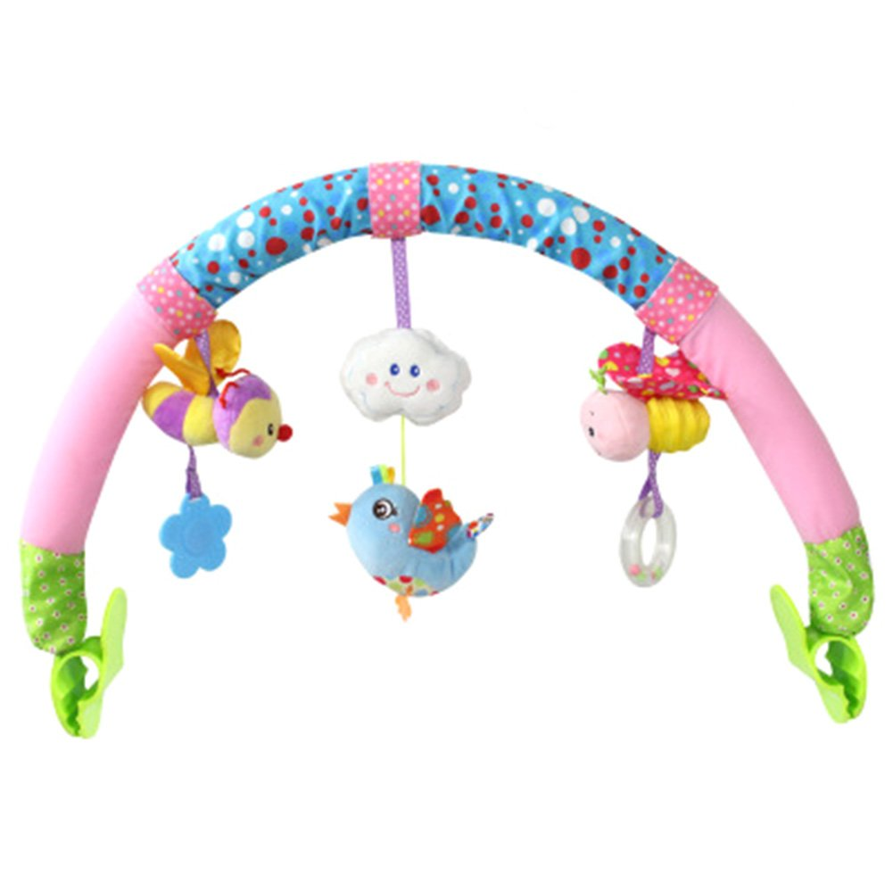 GBaoY Baby Plush Toys With Music Crib Stroller Soft Toys Crib Accessory Cloth Animmal Toy and Pram Activity Bar with Rattle Teethers Sky Animal