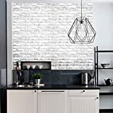 HaokHome 61022 Peel & Stick Faux White Brick Wallpaper White/Grey Self Adhesive Contact Paper Wall Furniture Sticker
