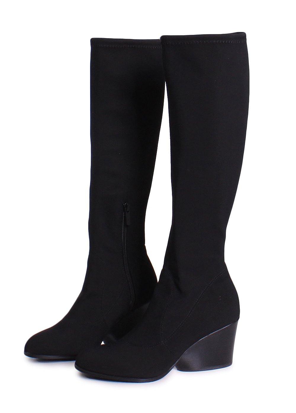 Donald J Pliner Patsy Crepe Elastic Knee High Boots In Black B077V238KM 6 B(M) US