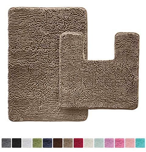 Gorilla Grip Original Shaggy Chenille Bathroom 2 Piece Rug Set Includes Mat Contoured for Toilet and 30×20 Carpet Rugs, Machine Wash/Dry, Perfect Plush Mats for Tub, Shower, Bath Room (Beige)