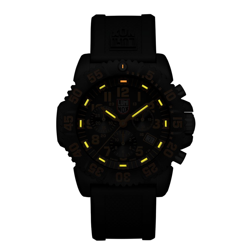 Luminox Men's 3089 Navy Seal Colormark Chronograph 3080 Series Black Chronograph Rubber Band, Orange Accents Watch by Luminox (Image #3)