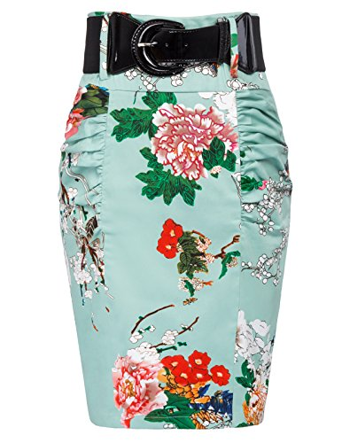 Slim Vintage Floral Printed Pencil Skirts for Women Size XL, Floral-6