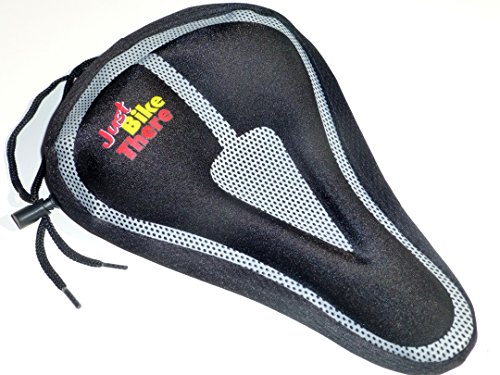 Just Bike There Bicycle Seat Cover - Best Padded Mountain and Road Memory Foam Saddle Cushion Pad for Exercise Comfort - Unisex Men and Women - Adult and - Refund Usa Tax Sales