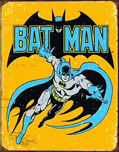 Desperate Enterprises MS1357 Poster Batman Retro Tin Sign, 13x16, Multi-Colored