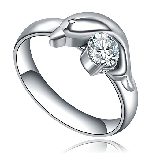 Cut Dolphin Ring - Blazers Jewelry 1985 - 316L Surgical Stainless Steel Dolphin Shape Cubic Zirconia Engagement Ring Wedding Ring (6)