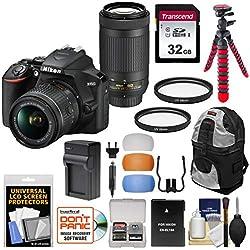 Nikon D3500 Digital SLR Camera & 18-55mm VR & 70-300mm DX AF-P Lenses with 32GB Card + Backpack + Battery + Charger + Tripod + Kit