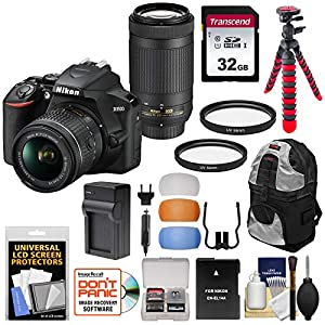 Nikon D3500 Digital SLR Camera & 18-55mm VR & 70-300mm DX AF-P Lenses with 32GB Card + Backpack + Battery + Charger + Tripod + Kit