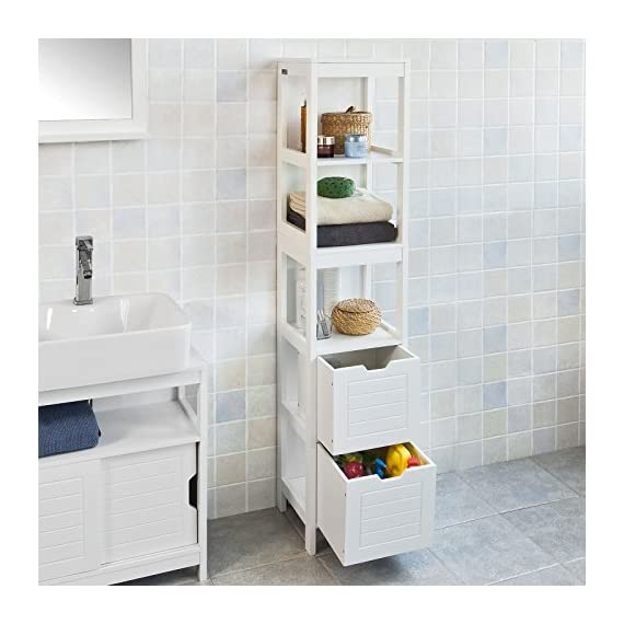 Haotian White Floor Standing Tall Bathroom Storage Cabinet with Shelves and Door,Linen Tower Bath Cabinet, Cabinet with Shelf (FRG126-W) - White Floor Standing Tall Bathroom Storage Cabinet is perfect for your modern or traditional decor. It has 3 shelves and 2 drawers to provide you ample space for bathroom essentials. Material/Finish: White MDF. - shelves-cabinets, bathroom-fixtures-hardware, bathroom - 51cFAr4BgXL. SS570  -