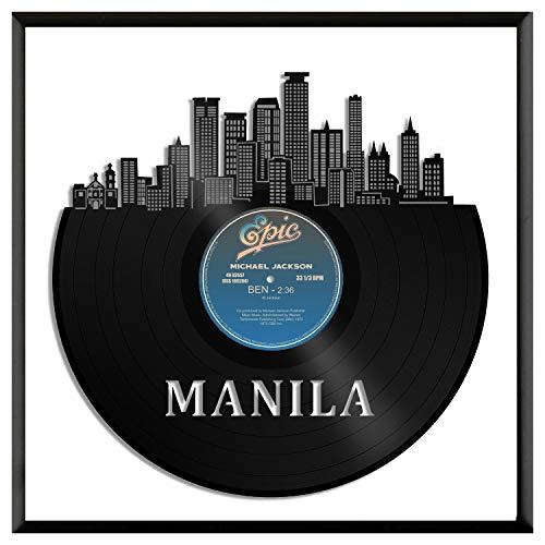 VinylshopUS - Manila Philippines Vinyl Wall Art with Framed City Skyline Souvenir Anniversary Best Gift Home and Office | Room Decoration