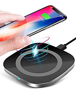 Qi Wireless Charger, Wireless Charging Pad for iPhone X iPhone 8/8 Plus, 10W Fast Charger for Samsung Galaxy Note 8 S8 S8 Plus S7 S7 Edge S6 edge, Nexus 7, LG G3 and other Qi-Enabled Devices - Black