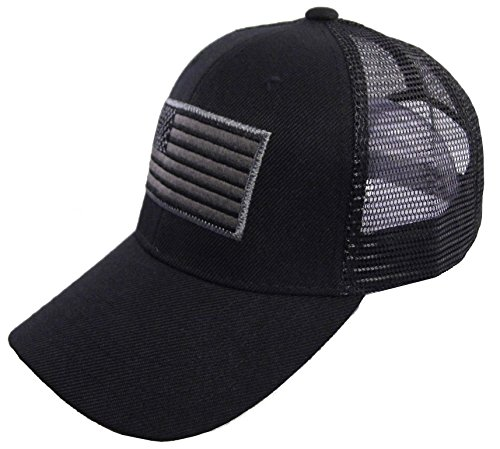 USA Flag Patch Tactical Style !esh Trucker Baseball Cap - Blacks All Hats