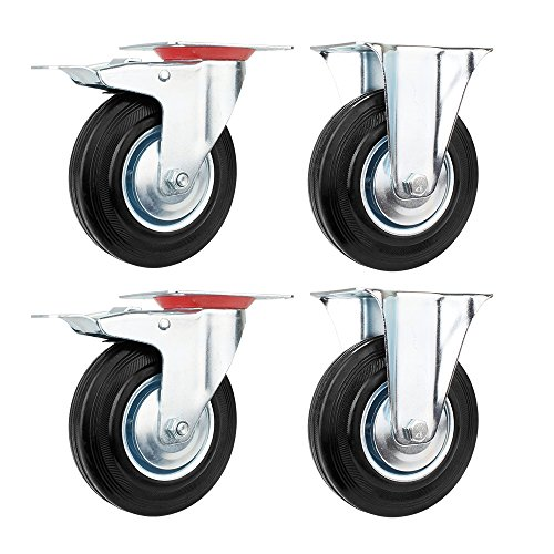 4 x Ø125mm Caster Wheels Rubber Swivel Castor Wheels Trolley Furniture  Caster Castors Heavy Duty (Swivel Castor&Braked Castor,Maximum Load 100 KG  per