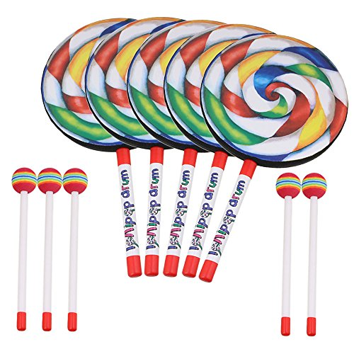 (Lollipop Shape Drum with Rainbow Color Diameter 20cm Mallet Music Rhythm Instruments Kids Baby Children Playing Toy Pack of 5)