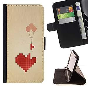 For HTC Desire 820 Case , Globos del corazón profundo significado Juegos Amor- la tarjeta de Crédito Slots PU Funda de cuero Monedero caso cubierta de piel