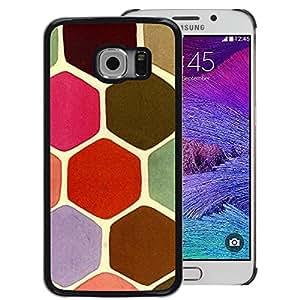 A-type Arte & diseño plástico duro Fundas Cover Cubre Hard Case Cover para Samsung Galaxy S6 EDGE (NOT S6) (Scales Pastel Turtle Hexagon Pink Green)