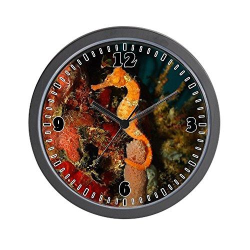 Wall Clock Seahorse Holding Coral