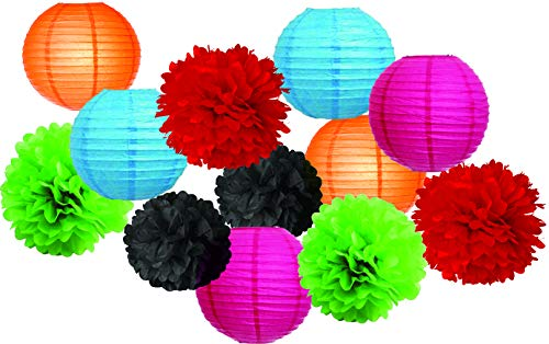 Charmed 12 pcs Hanging Tissue Paper Pom Poms Flower and Paper Lanterns Set for Birthday Party Wedding Festival Halloween and Day of The Dead -