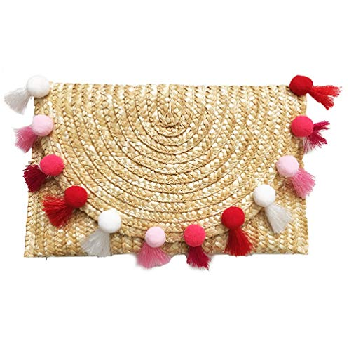 Straw Pom Pom and Tassel Clutch - Fashion Bag for Summer (Straw-Pink)