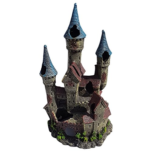 (Three Turret Large Castle Aquarium Fish Tank Decor Ornament, Polyresin)