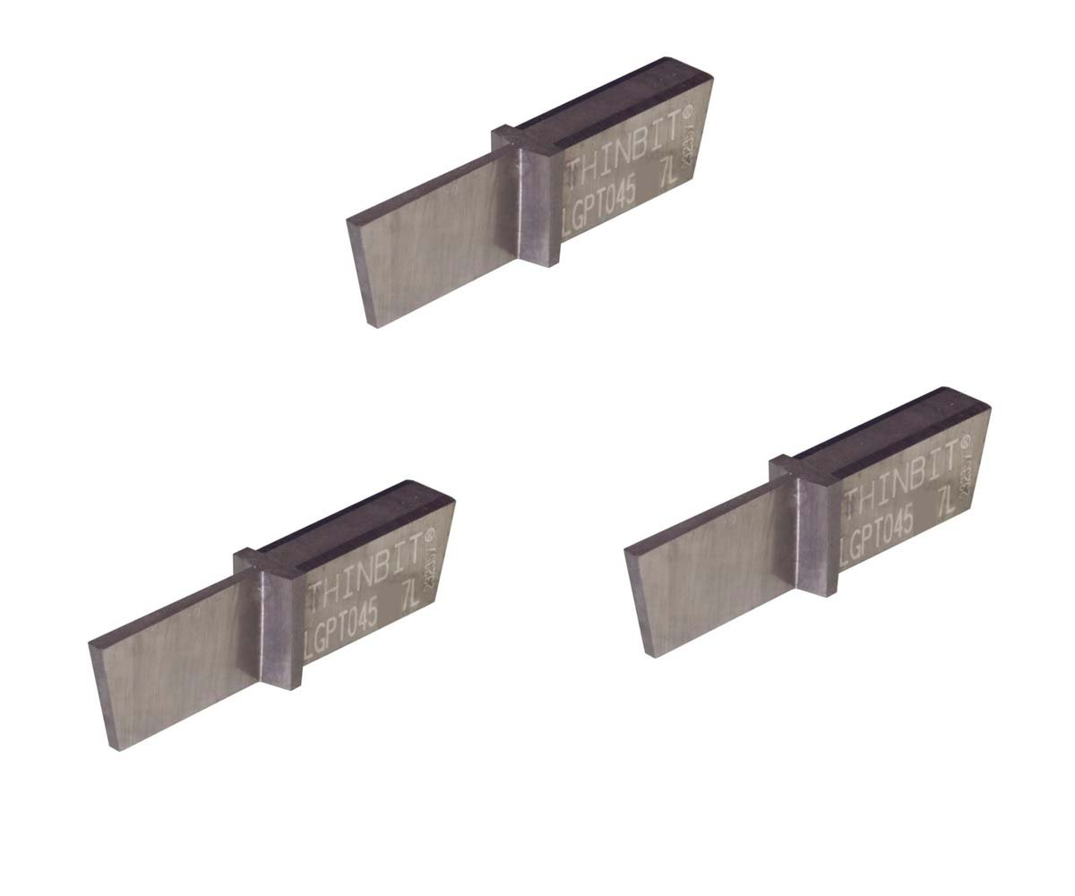 3 Pack LGPT045D57L Groove 'N Turn 'L' Series Parting Insert, Uncoated Carbide for Non-Ferrous Alloys, Aluminium, Plastic No Interrupted cuts. THINBIT Made in The USA
