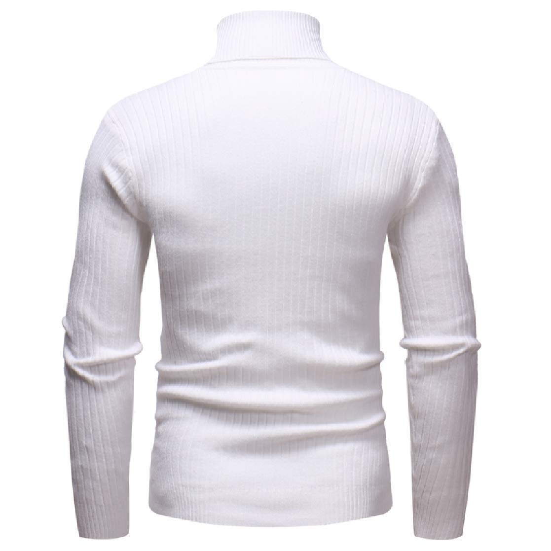 YUNY Mens Stripes Long-Sleeve High Neck Pure Knitting Pullover Sweaters White L