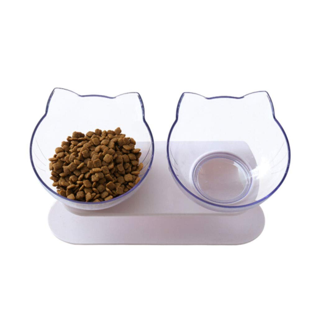 Transparent Feeding Stations,Elevated Pet Bowl,15 Degree Tilted Platform,Suitable for Cats or Small Dogs,for Dry or Wet Food(White)