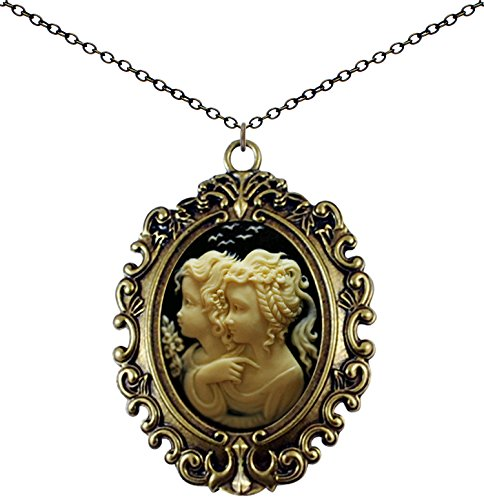 Yspace Antique Brass Necklace Cameo Big Pendant Jewelry 2 Chain Deluxe Pouch Gift (Sisters Fairy)