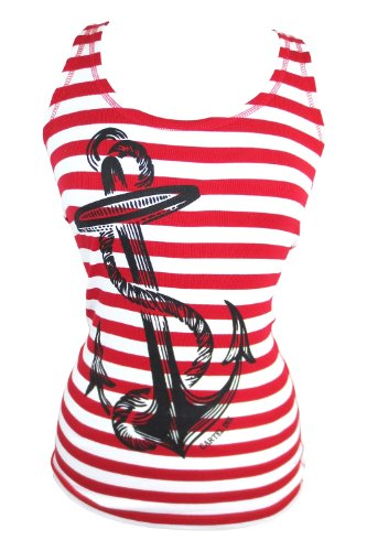 Pinky Star Pinup Sailor Anchor Logo Red and White Striped Rib Tank Top (XL)