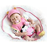 Full Silicone Body Reborn Baby Dolls Girl Eye Closed Lifelike Toddler Rose Red Outfit 22 inches