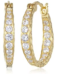 "Cubic Zirconia Hammered Hoop Earrings (0.82"" Diameter)"