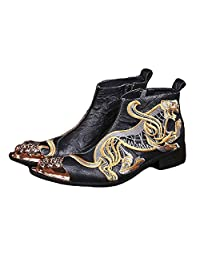 US Size 5-12 Fashion Black Embroidered Tiger Leather Mens Steel Toe Zip Ankle Boots Shoes