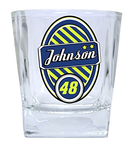 NASCAR #48 Jimmie Johnson 12oz Glass Tumbler Set-NASCAR Short Glasses SET OF 2 - Jimmie Johnson Set