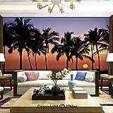 Lionpapa_mural Artistic Background Removable Wall Mural Self-Adhesive,Hawaiian Sunset on Big Island Anaehoomalu Bay Tropic Horizon Ocean Romantic Resort Decorative,Home Decor - 66x96 inches