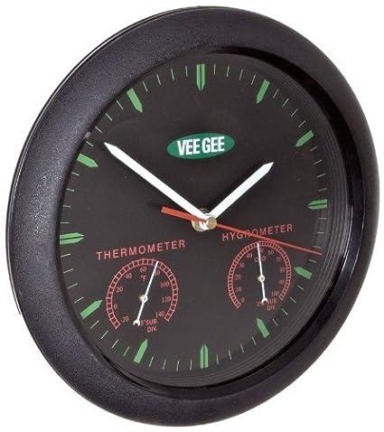 Amazon.com: VeeGee Wall-Mount Termómetro-higrómetro-reloj, cara de cristal, 9-3 / 4