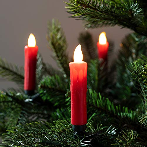 Lights4fun, Inc. Pack of 20 Red Wax Battery Operated Remote Control LED Flameless Christmas Candles with Tree - Tree Candles Electric Christmas