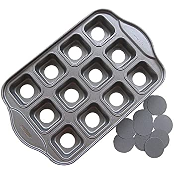 Tosnail 12 Cavity Mini Cheesecake Pan Cupcake Pan with Removable Bottom, Square