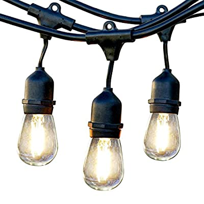 Brightech Ambience Pro - Waterproof LED Outdoor String Lights - Hanging 1W Vintage Edison Bulbs Create Bistro Ambience… - ITALIAN CAFE STYLE LIGHTS TRANSFORM YOUR GAZEBO INTO A DELIGHTFUL RETREAT: Brightech Ambience Pro market lights set the mood so you can sit back, relax, and enjoy the evening. The lights are bright enough to BBQ by without a flashlight, but dim enough not to overwhelm. Perfect for entertaining or a romantic dinner!. --- Bulb Spacing: 3 Feet. --- Connections: Up to 8 strands total..--- DECORATIVE RETRO EDISON FILAMENTS CREATE GREAT BACKYARD AMBIENCE: Use vintage pergola canopy lights to illuminate your wedding reception, birthday party, or other event. These Edison strings with exposed filaments give off a warm glow reminiscent of old world bistros. Increasingly popular as indoor lighting too, for bedrooms, bars and restaurants. HEAVY DUTY, COMMERCIAL GRADE WEATHERPROOF STRAND LIGHTS FOR YOUR EXTERIOR: Industrial grade WeatherTite Technology by Brightech makes Ambience Pros durable. These lights are waterproof and have withstood winds blowing at 50 MPH, per reviews! UL listed, and the rubberized, flexible cord is thicker than a traditional rope. Confidently leave these lights on display year round. - patio, outdoor-lights, outdoor-decor - 51cFEaI5bnL. SS400  -
