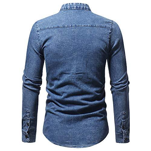 BaZhaHei-Blusa de hombre, Polo para Hombre los Hombres Camisetas la Blusa Superior de la Manga Larga de la Camiseta del Dril de algodón del Vintage del ...