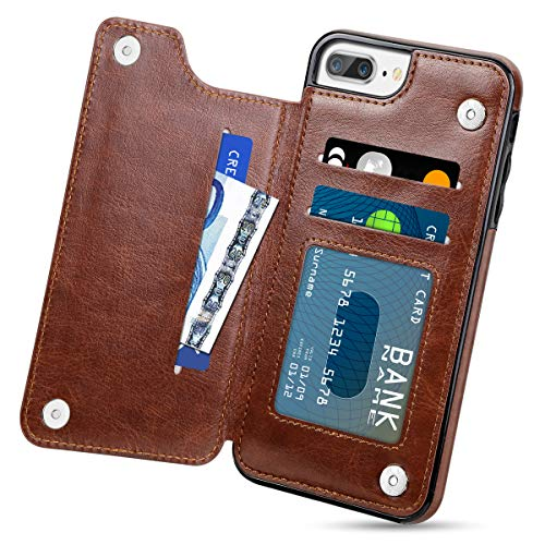 HianDier Wallet Case for iPhone 8 Plus 7 Plus Slim Protective Case with Credit Card Slot Holder Flip Folio Soft PU Leather Magnetic Closure Cover Compatible with iPhone 7 Plus 8 Plus 5.5 inches, Brown
